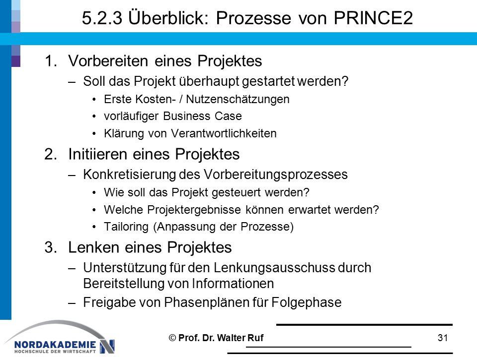 5.2.3 Überblick: Prozesse von PRINCE2