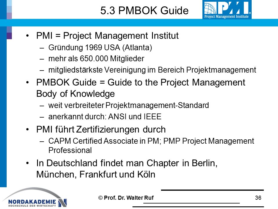 5.3 PMBOK Guide PMI = Project Management Institut
