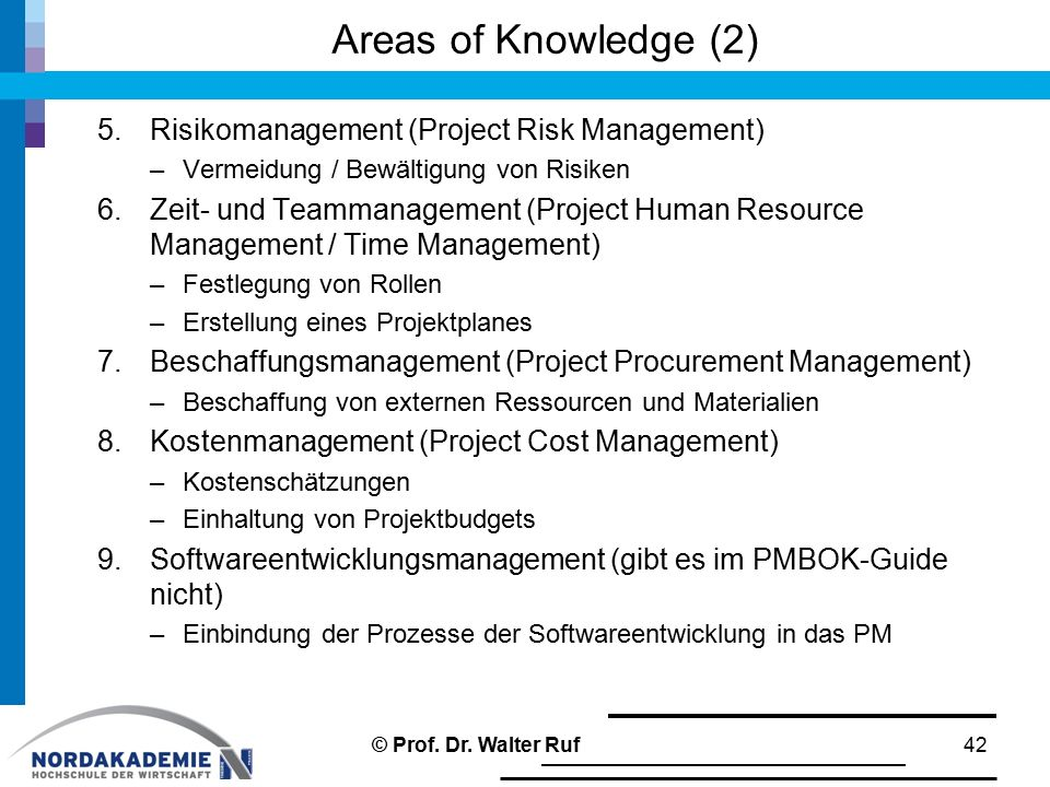 Areas of Knowledge (2) Risikomanagement (Project Risk Management)