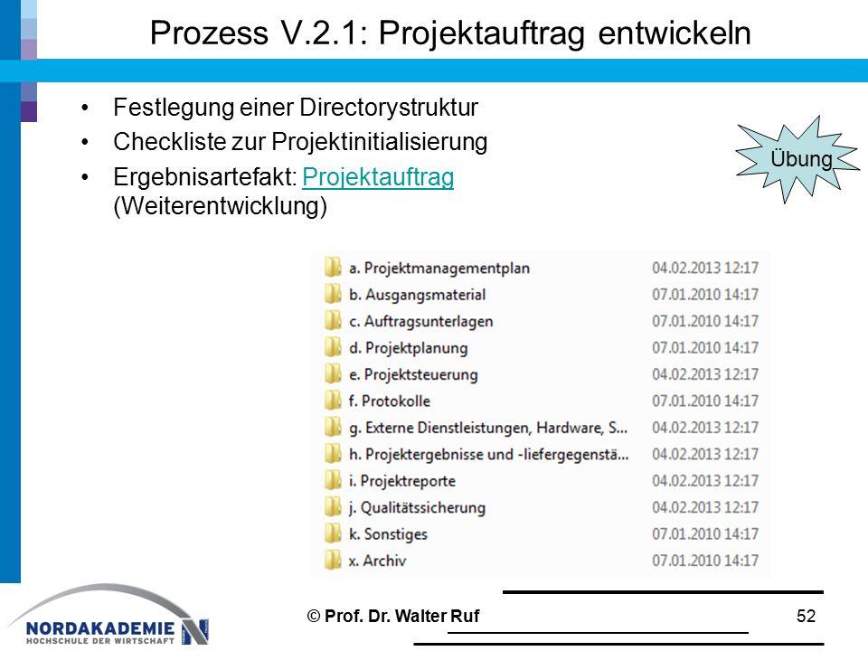 Prozess V.2.1: Projektauftrag entwickeln
