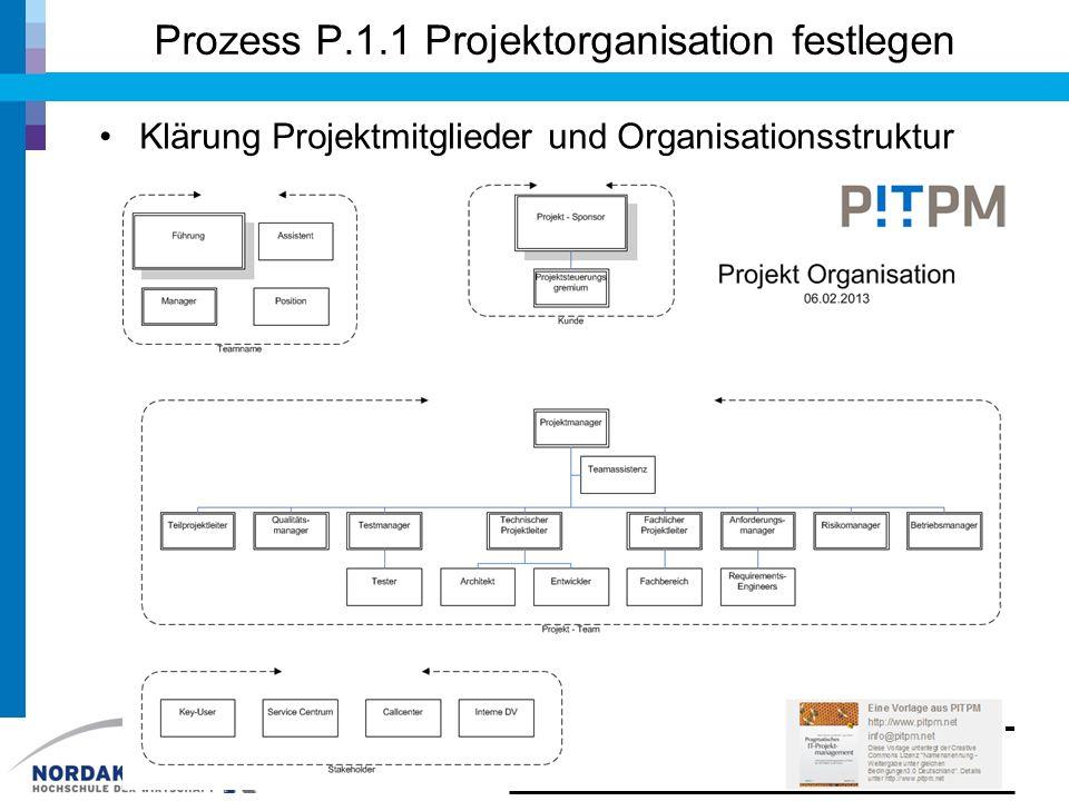 Prozess P.1.1 Projektorganisation festlegen