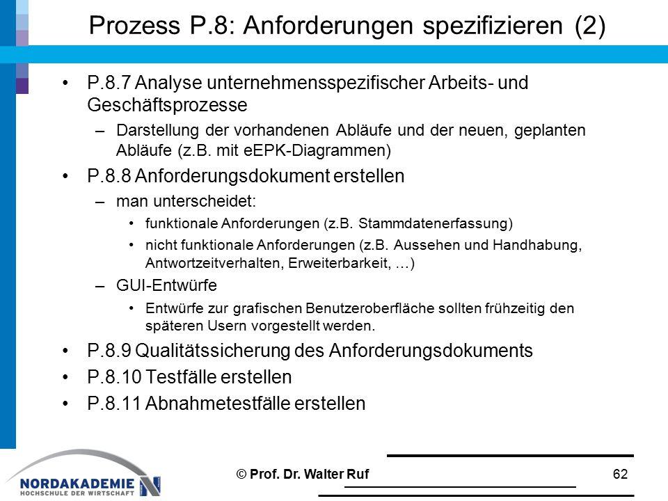 Prozess P.8: Anforderungen spezifizieren (2)
