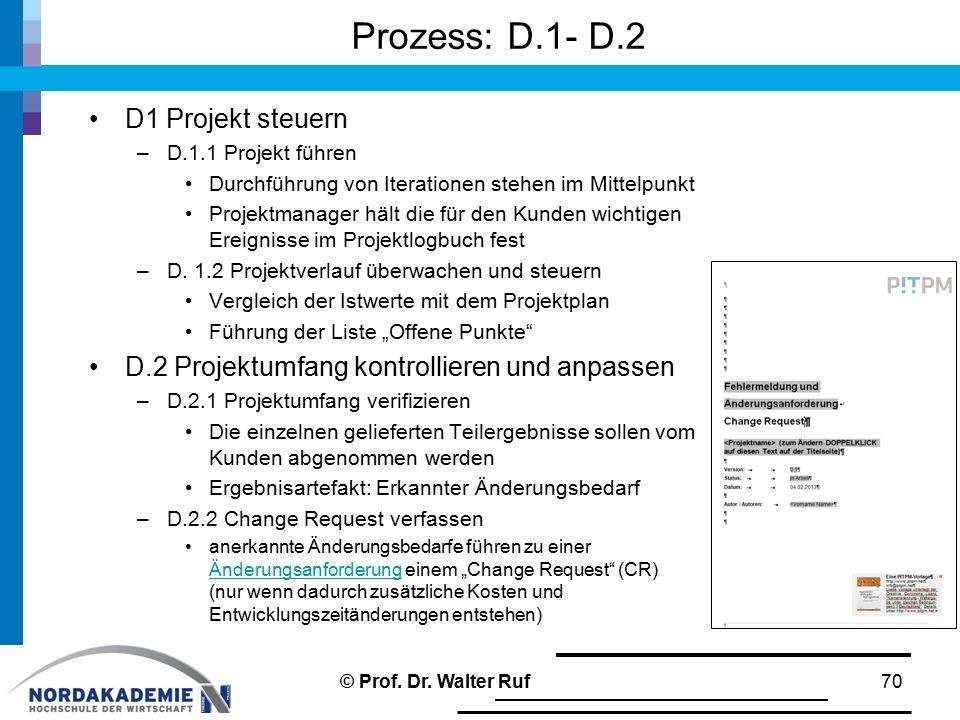 Prozess: D.1- D.2 D1 Projekt steuern