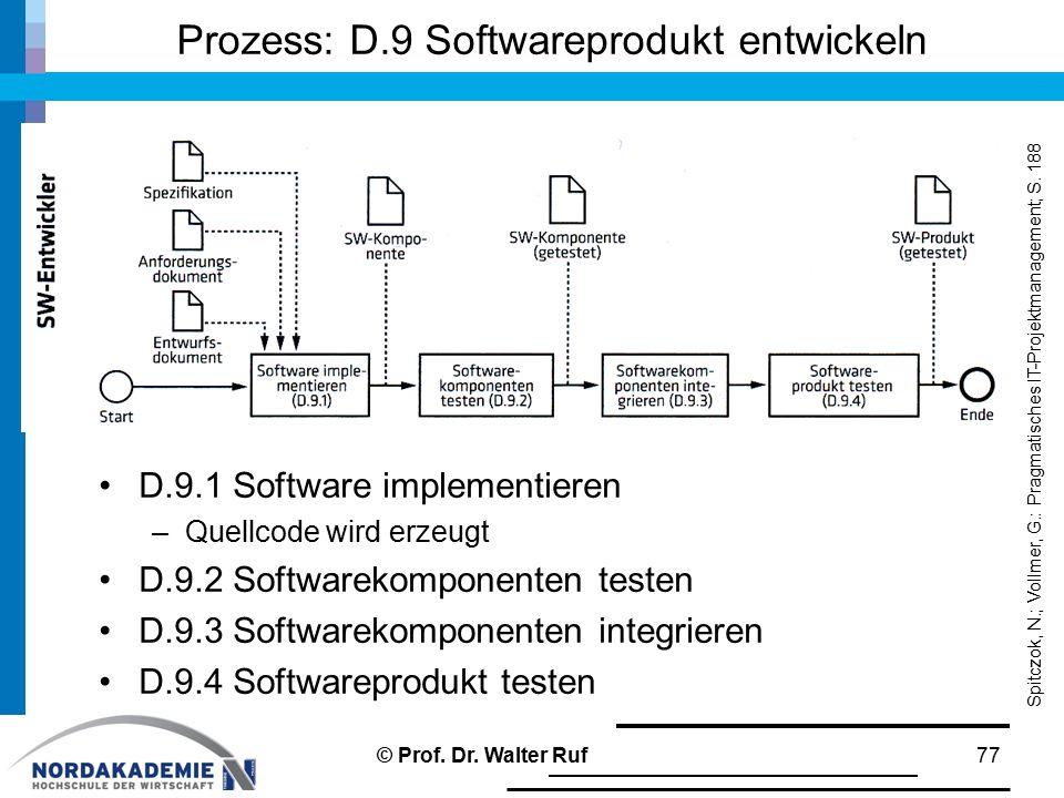 Prozess: D.9 Softwareprodukt entwickeln