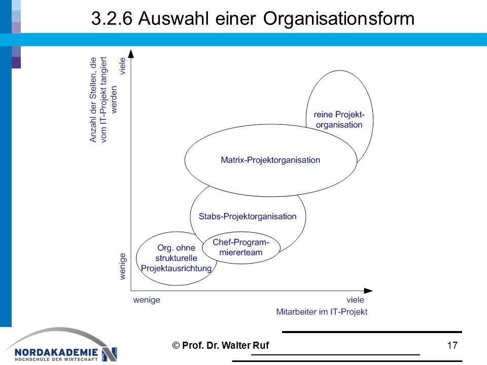 3.2.6 Auswahl einer Organisationsform