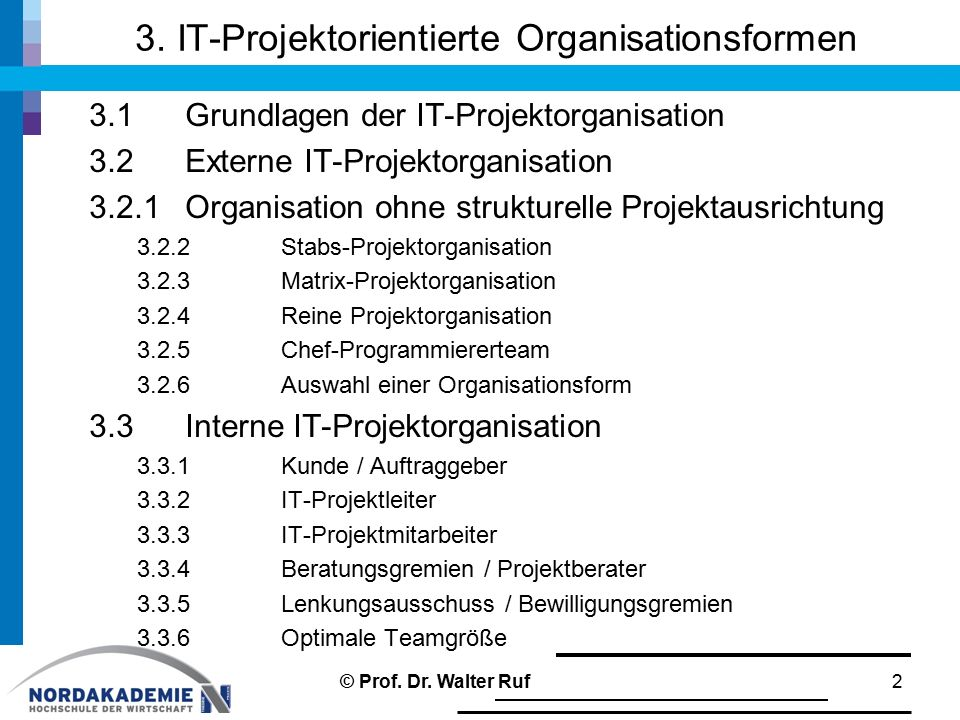 3. IT-Projektorientierte Organisationsformen