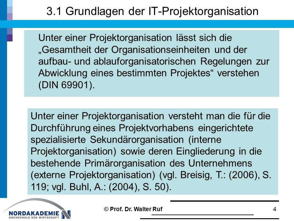 3.1 Grundlagen der IT-Projektorganisation