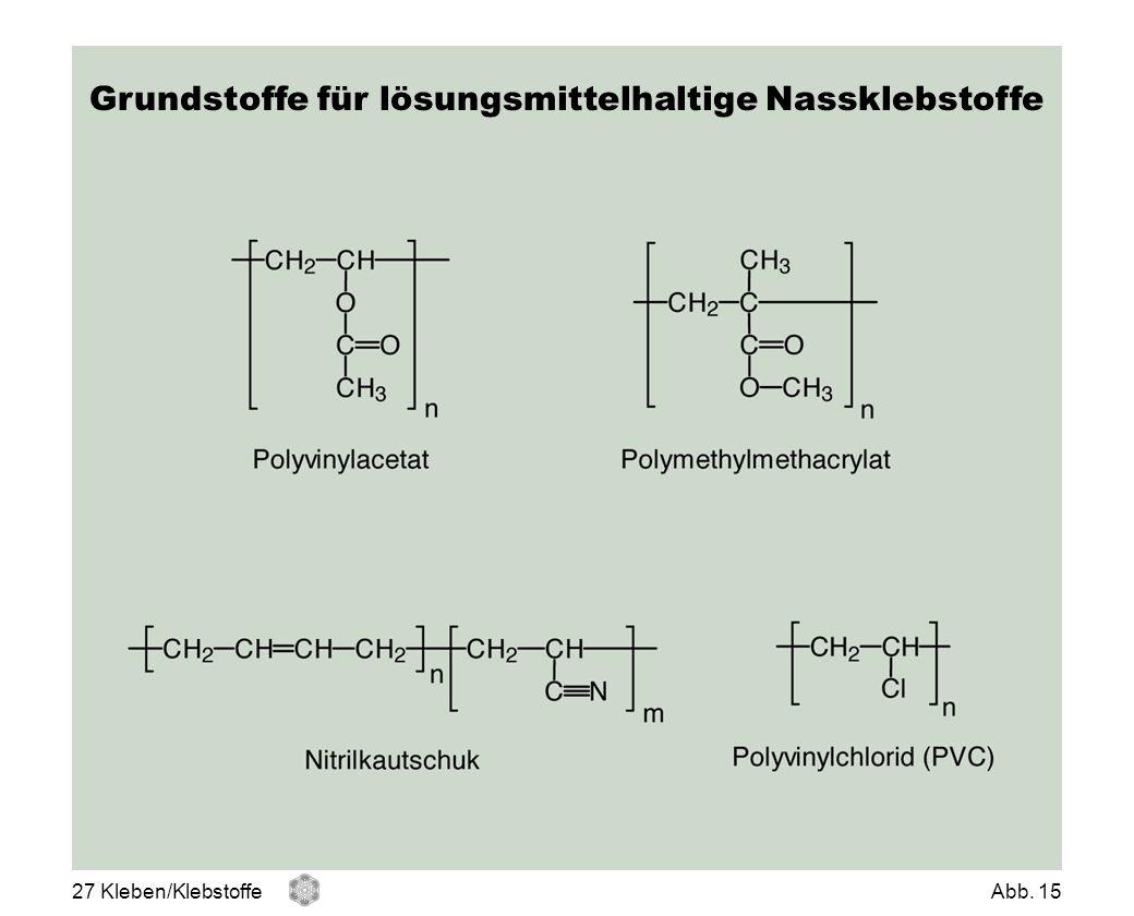 Grundstoffe für lösungsmittelhaltige Nassklebstoffe