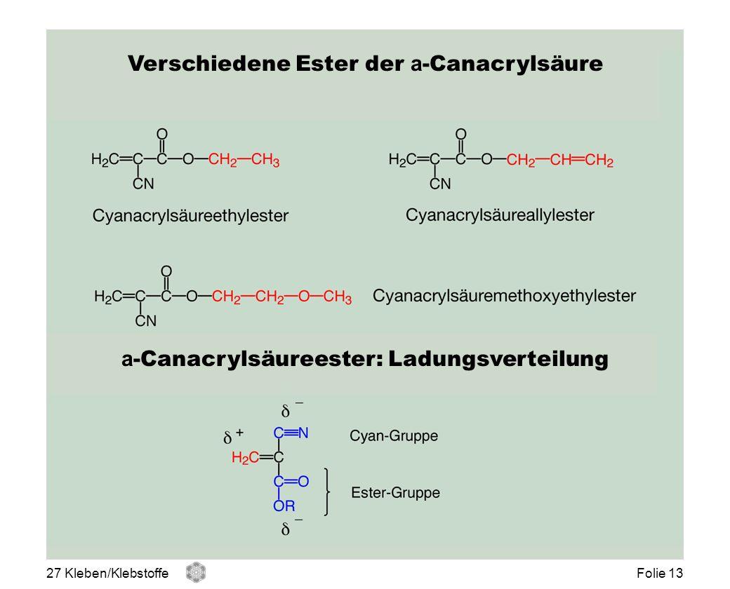 Verschiedene Ester der a-Canacrylsäure
