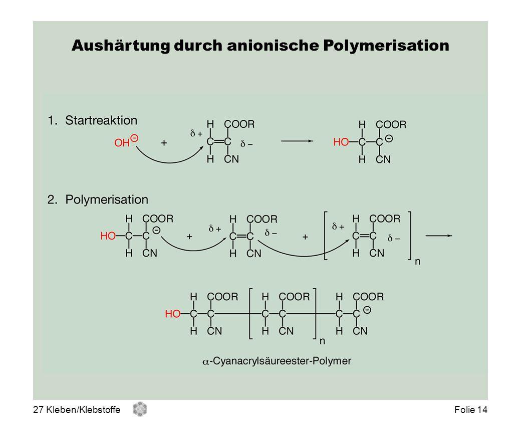 Aushärtung durch anionische Polymerisation