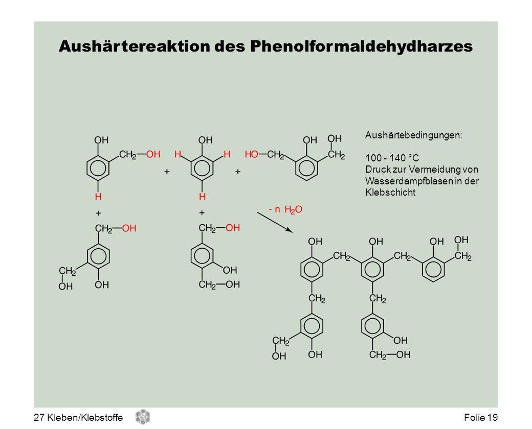 Aushärtereaktion des Phenolformaldehydharzes