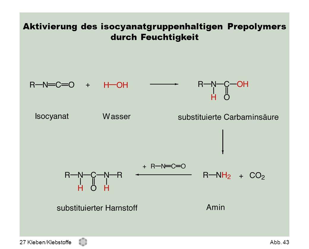 Aktivierung des isocyanatgruppenhaltigen Prepolymers durch Feuchtigkeit