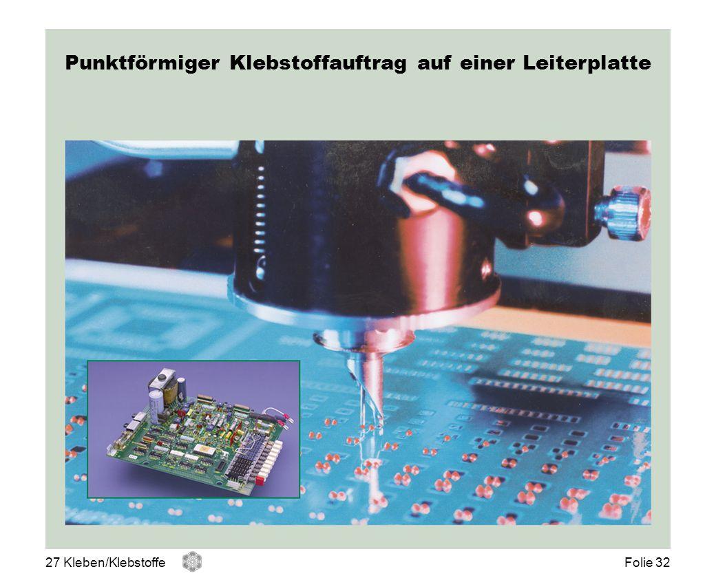 Punktförmiger Klebstoffauftrag auf einer Leiterplatte