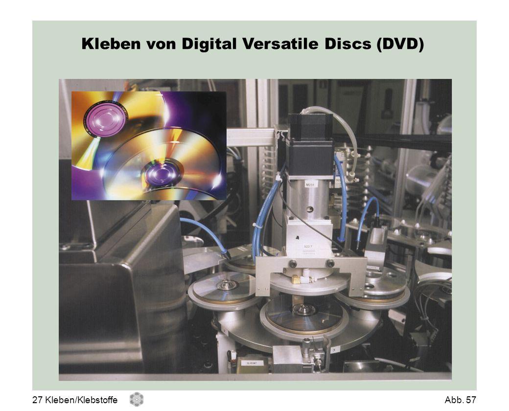 Kleben von Digital Versatile Discs (DVD)