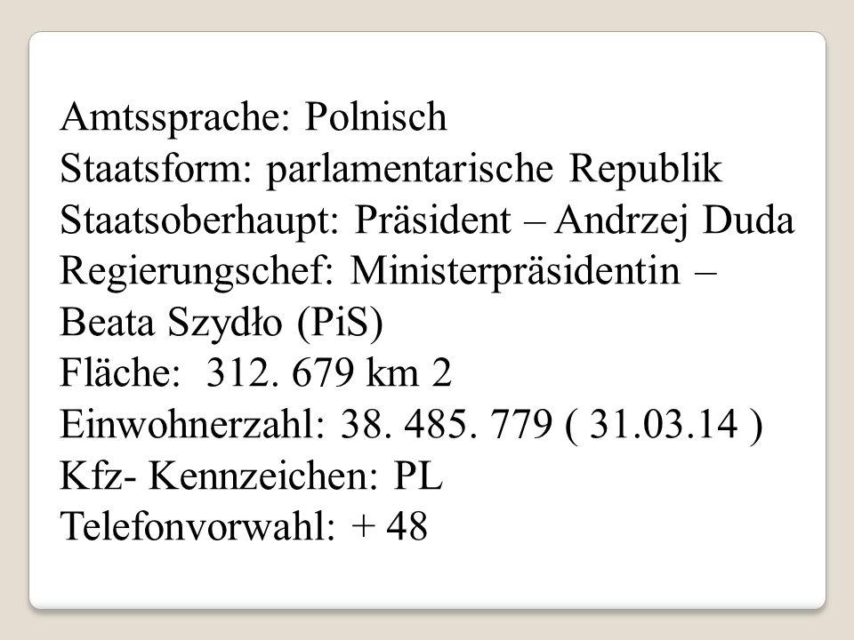Amtssprache: Polnisch