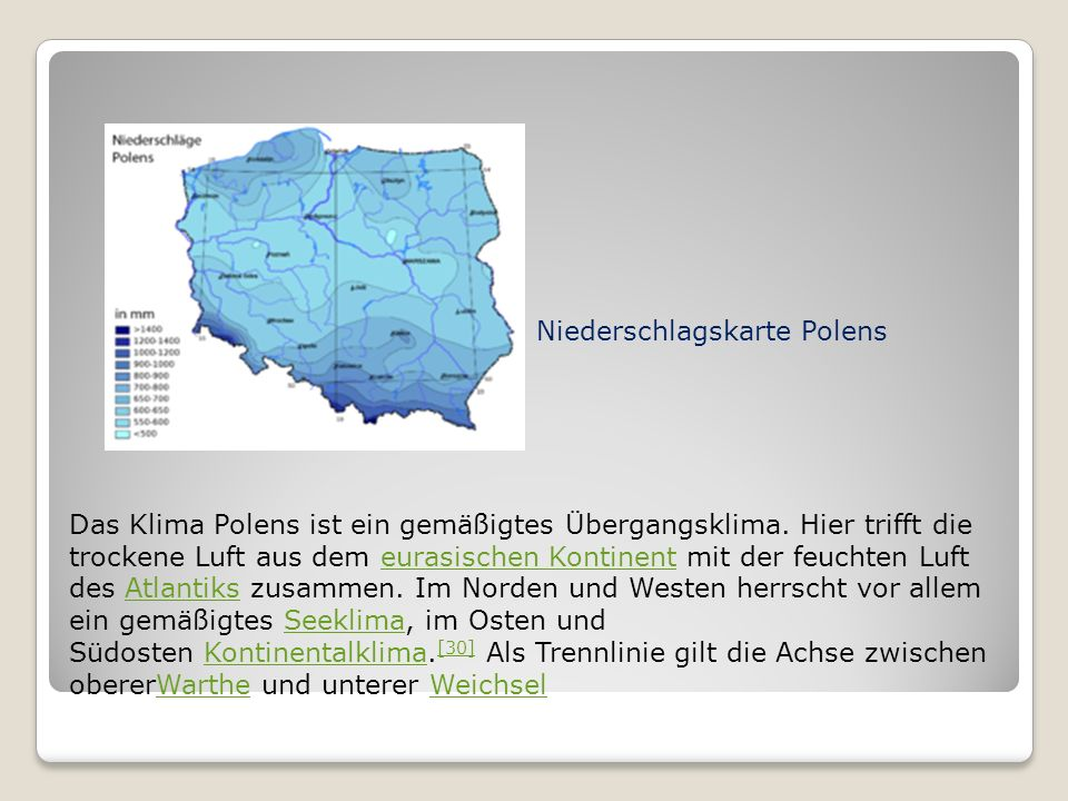 Niederschlagskarte Polens