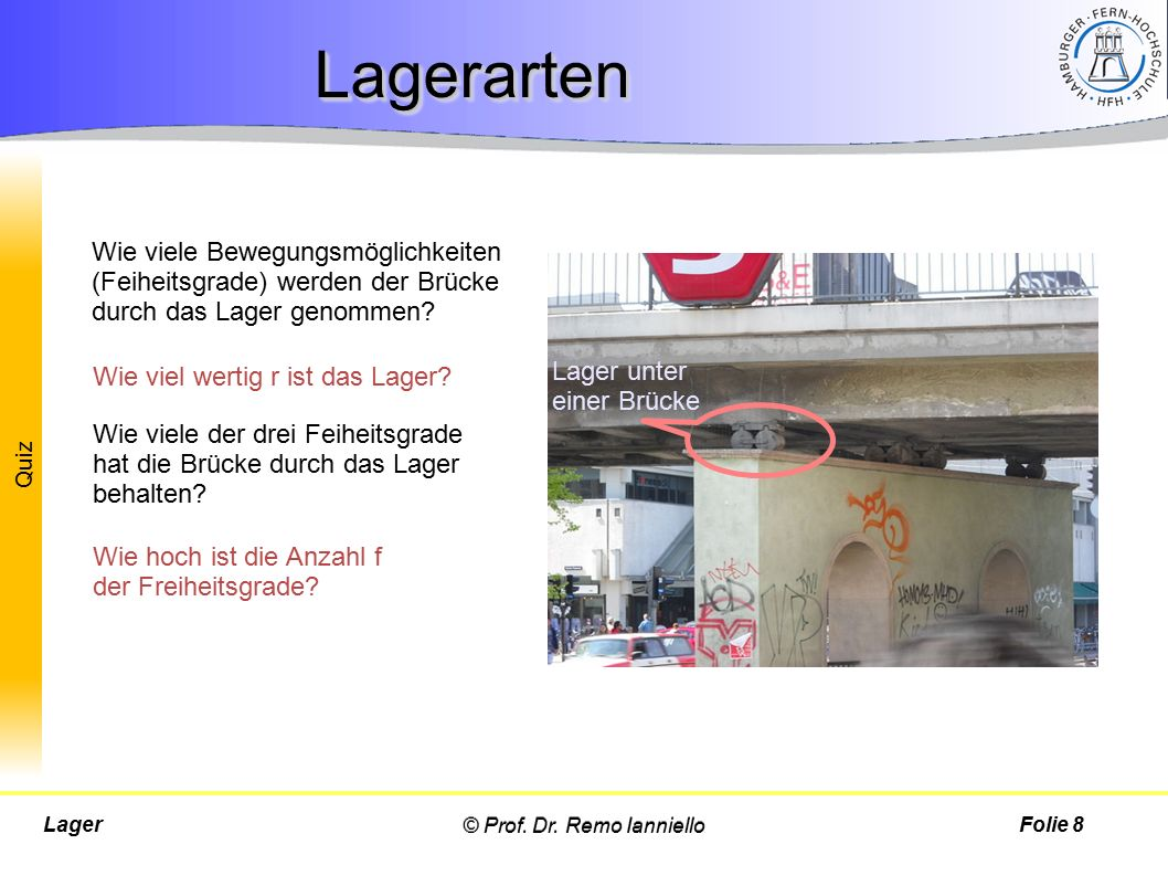 Lagerarten Wie viele Bewegungsmöglichkeiten (Feiheitsgrade) werden der Brücke durch das Lager genommen