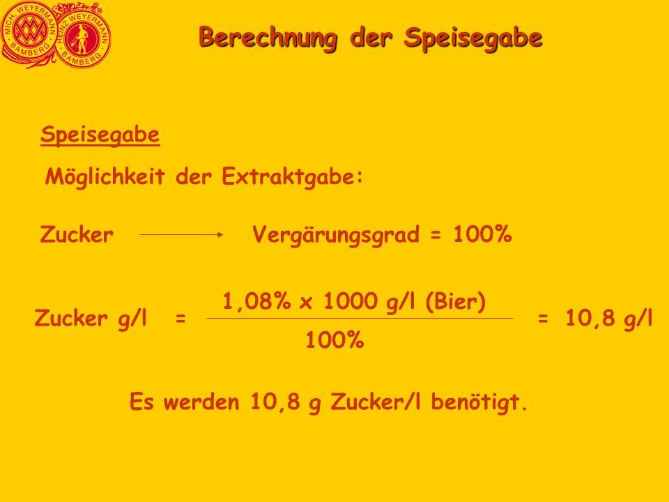 Berechnung der Speisegabe