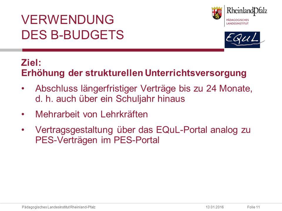 Verwendung des B-Budgets