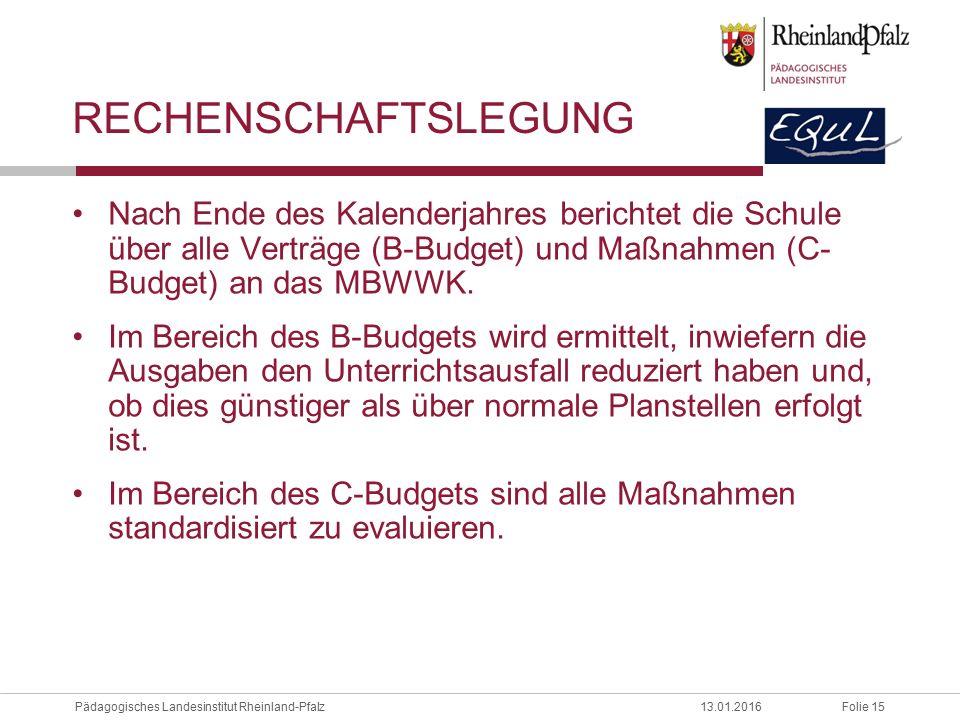 Rechenschaftslegung Nach Ende des Kalenderjahres berichtet die Schule über alle Verträge (B-Budget) und Maßnahmen (C- Budget) an das MBWWK.