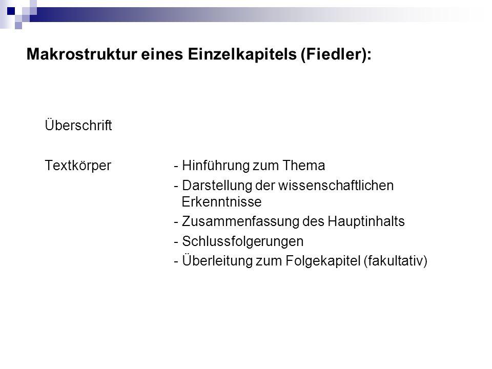 Makrostruktur eines Einzelkapitels (Fiedler):