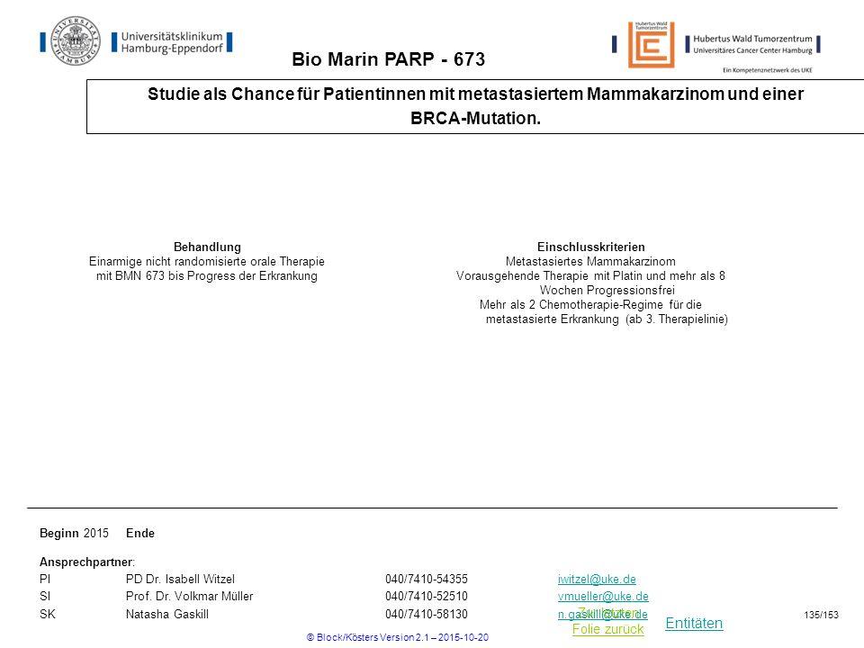 Bio Marin PARP - 673 Studie als Chance für Patientinnen mit metastasiertem Mammakarzinom und einer.
