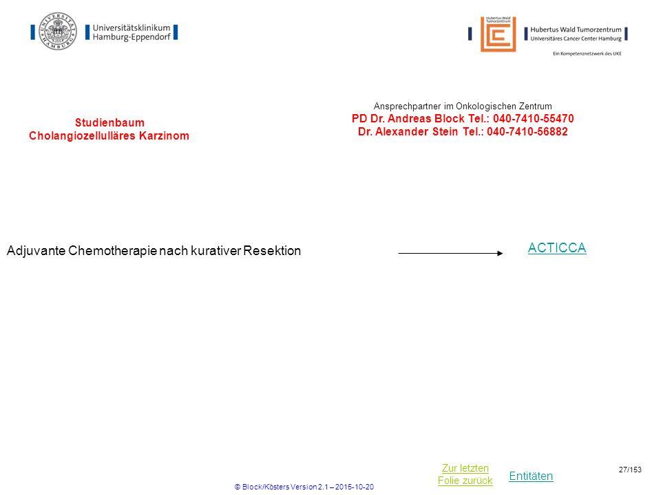 Studienbaum Cholangiozellulläres Karzinom