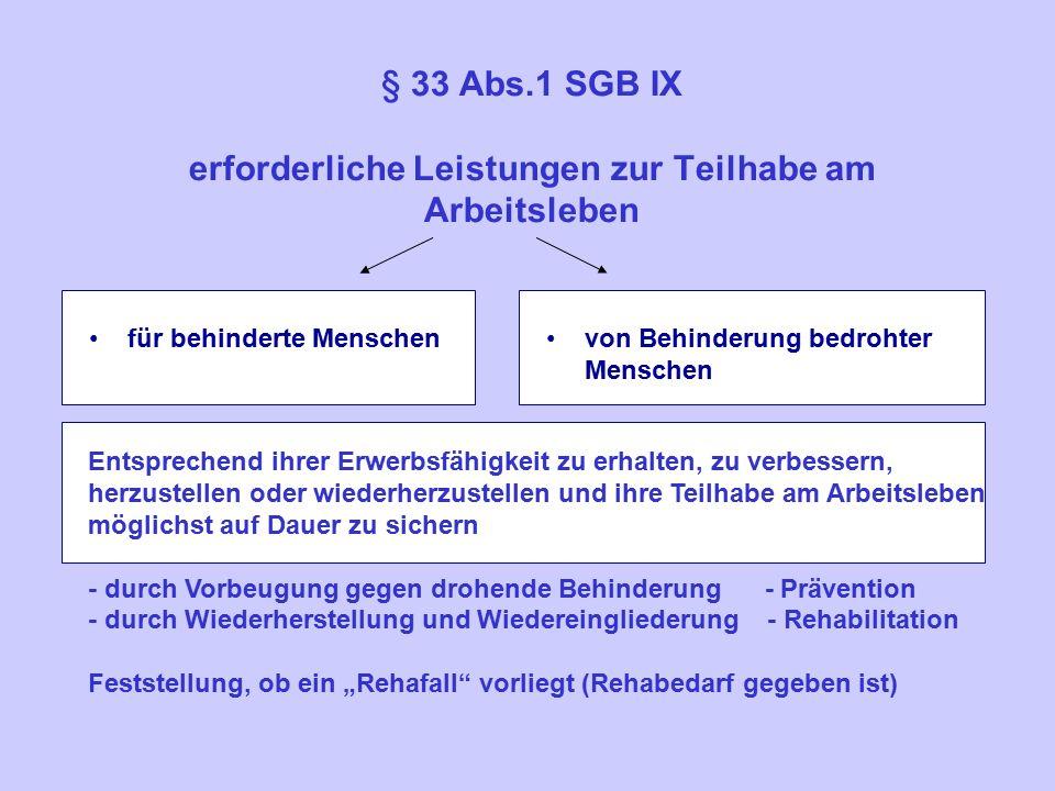§ 33 Abs.1 SGB IX erforderliche Leistungen zur Teilhabe am Arbeitsleben