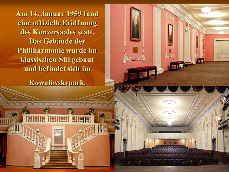 Am 14. Januar 1959 fand eine offizielle Eröffnung des Konzersaales statt.