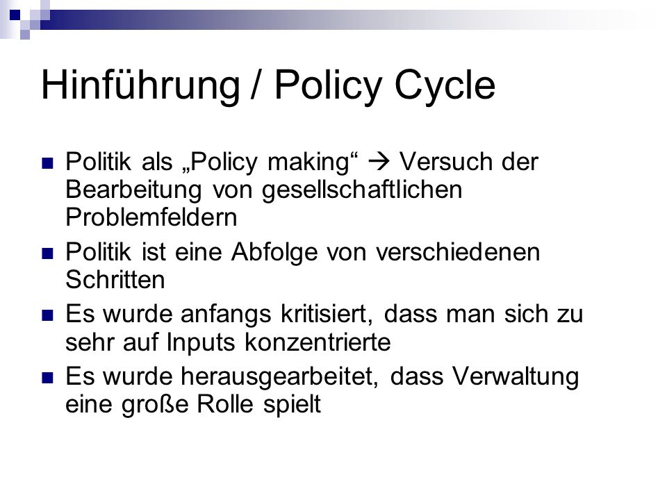 Hinführung / Policy Cycle