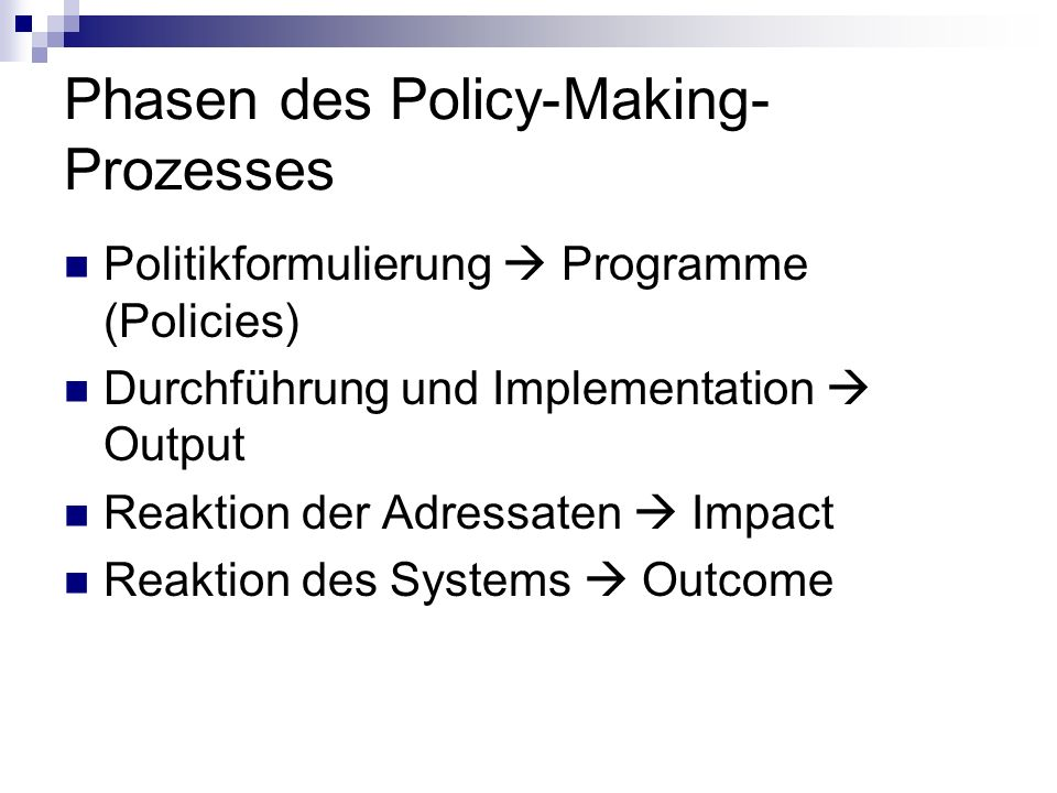 Phasen des Policy-Making-Prozesses