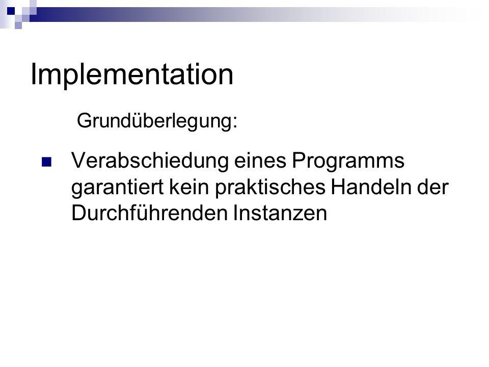 Implementation Grundüberlegung: Verabschiedung eines Programms garantiert kein praktisches Handeln der Durchführenden Instanzen.