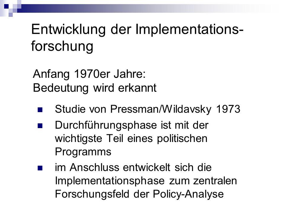 Entwicklung der Implementations-forschung