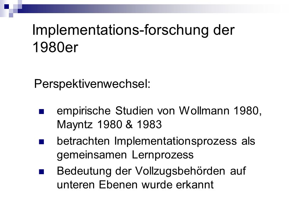 Implementations-forschung der 1980er