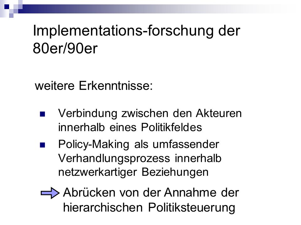 Implementations-forschung der 80er/90er