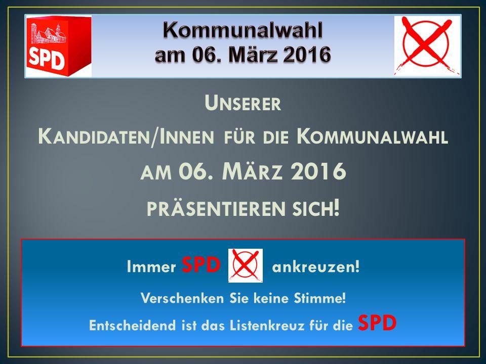 Kandidaten/Innen für die Kommunalwahl