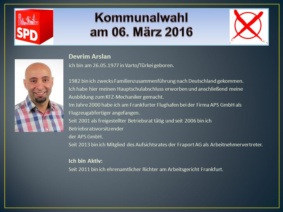 Devrim Arslan Ich bin Aktiv: