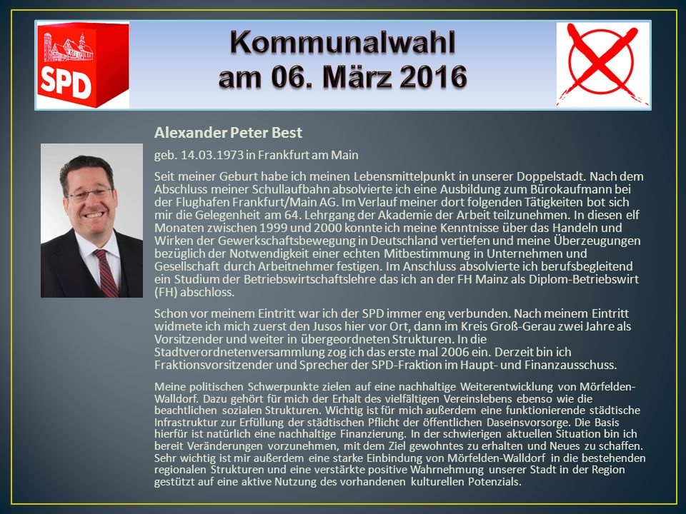 Alexander Peter Best geb. 14.03.1973 in Frankfurt am Main