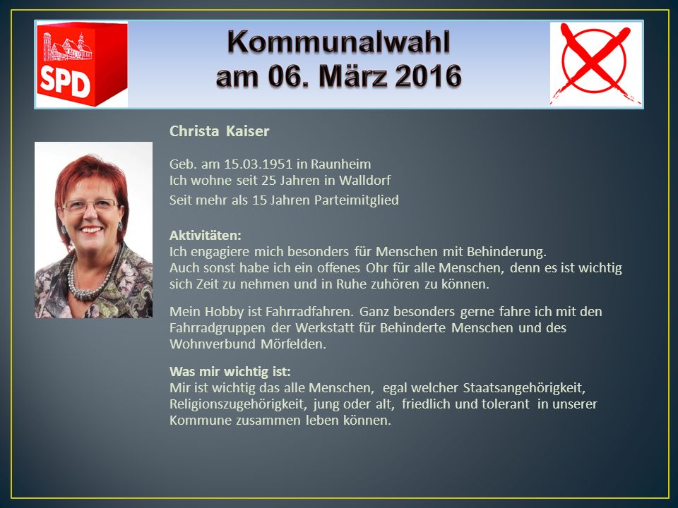 Christa Kaiser Geb. am 15.03.1951 in Raunheim