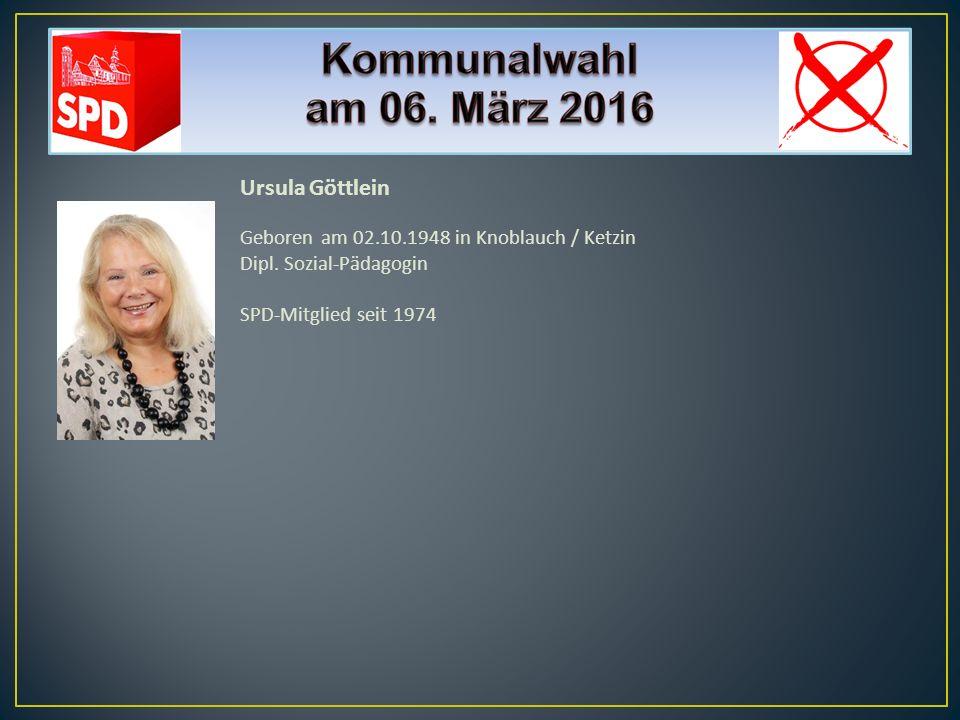 Ursula Göttlein Geboren am 02.10.1948 in Knoblauch / Ketzin