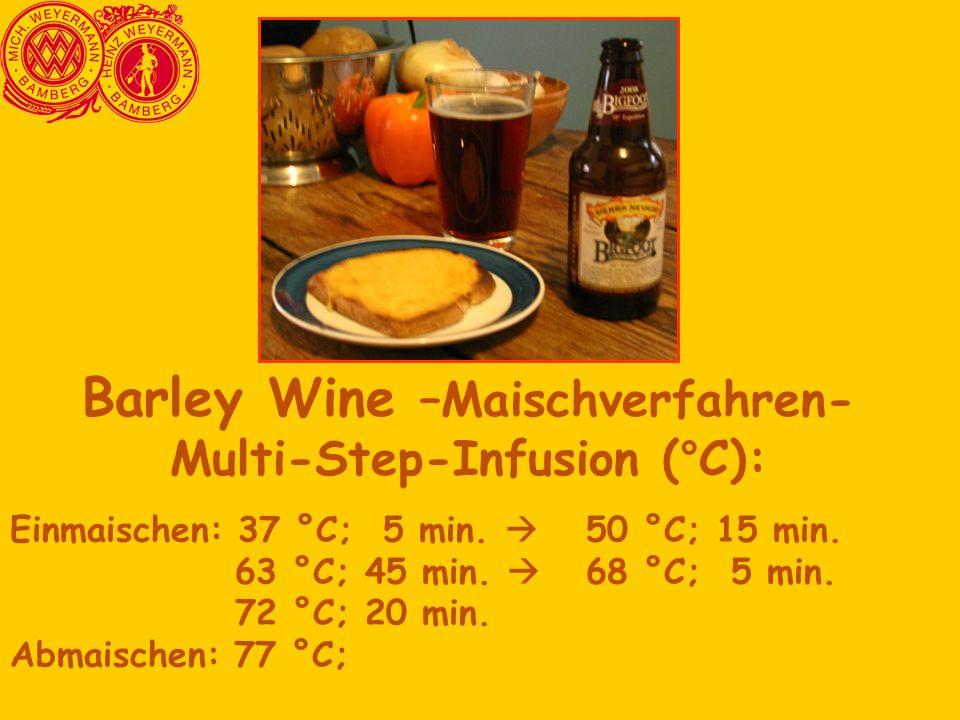 Barley Wine –Maischverfahren- Multi-Step-Infusion (°C):