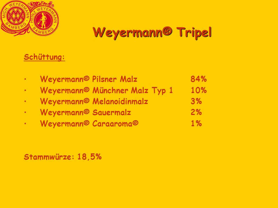 Weyermann® Tripel Schüttung: Weyermann® Pilsner Malz 84%