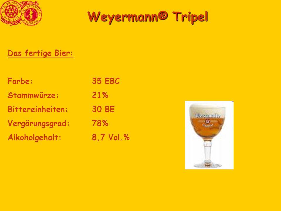 Weyermann® Tripel Das fertige Bier: Farbe: 35 EBC Stammwürze: 21%