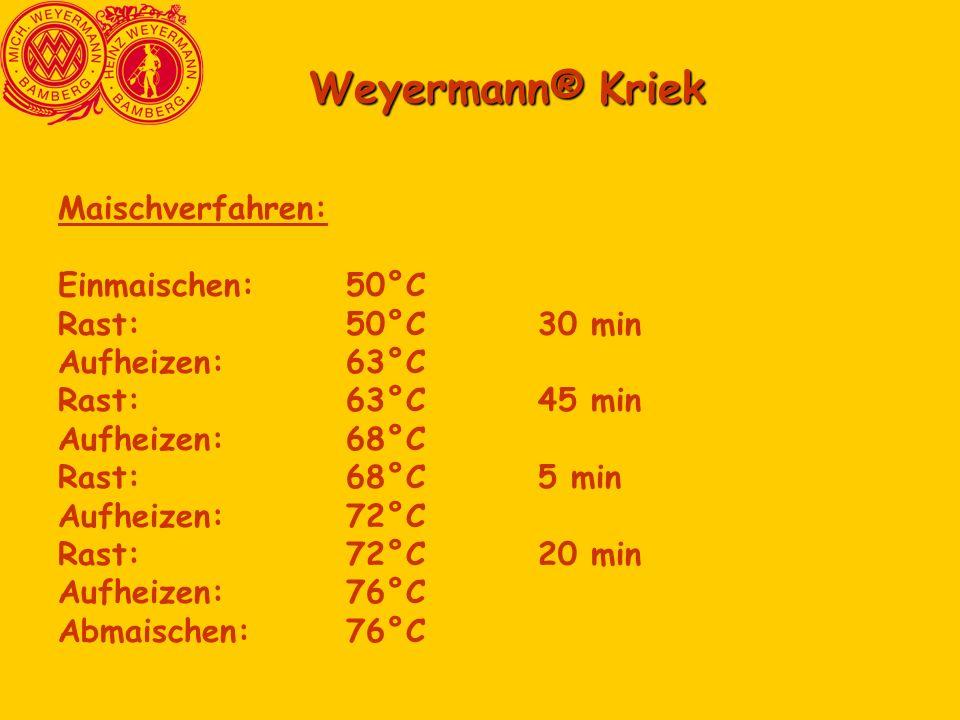 Weyermann® Kriek Maischverfahren: Einmaischen: 50°C Rast: 50°C 30 min