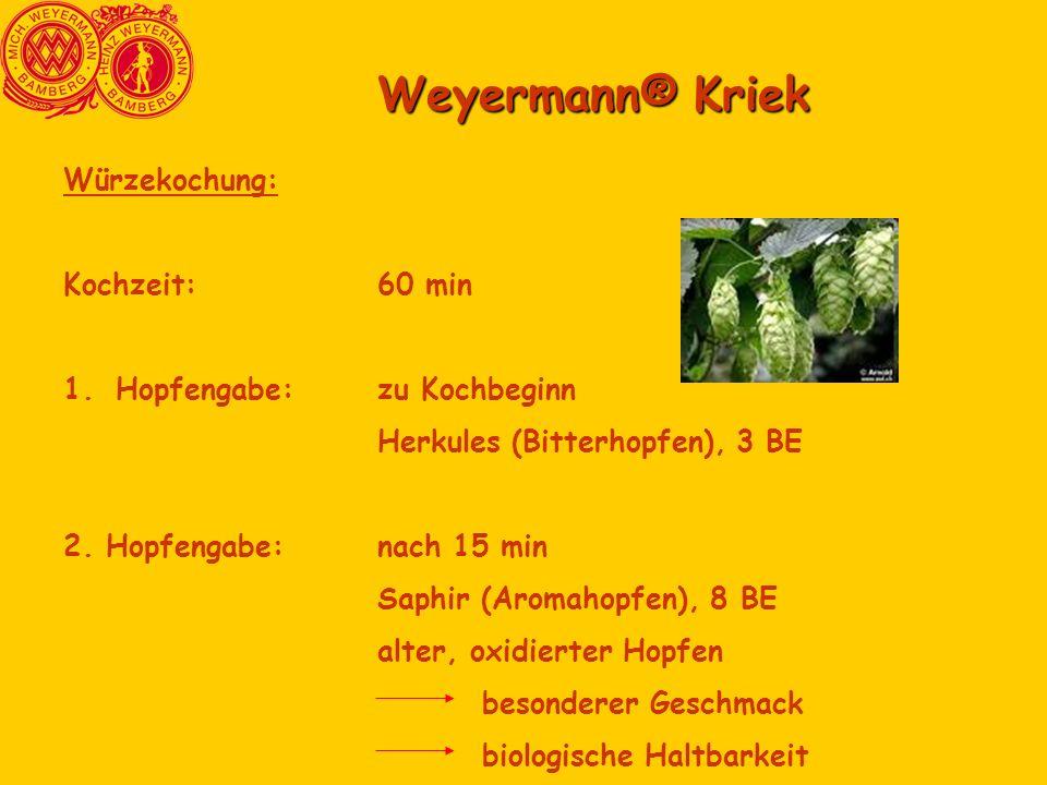 Weyermann® Kriek Würzekochung: Kochzeit: 60 min