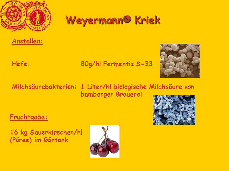 Weyermann® Kriek Anstellen: Hefe: 80g/hl Fermentis S-33