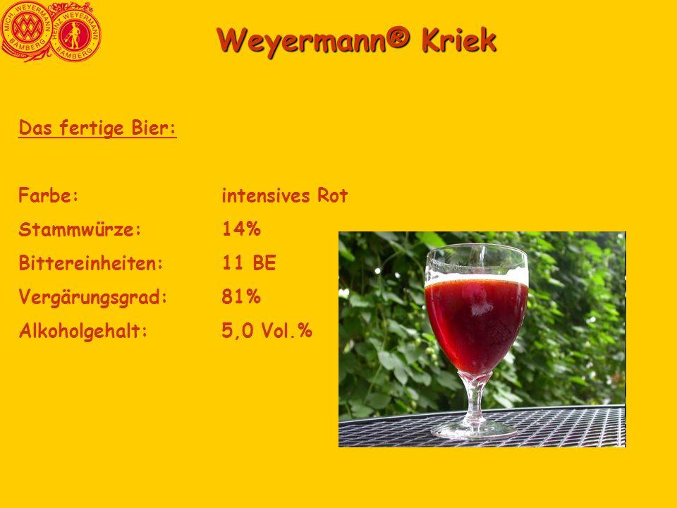 Weyermann® Kriek Das fertige Bier: Farbe: intensives Rot