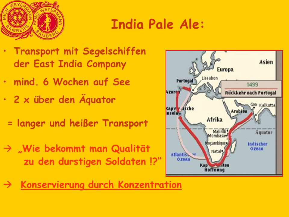 India Pale Ale: Transport mit Segelschiffen der East India Company