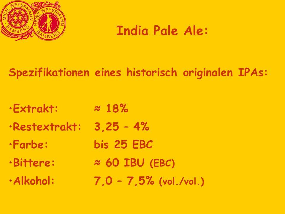 India Pale Ale: Spezifikationen eines historisch originalen IPAs: