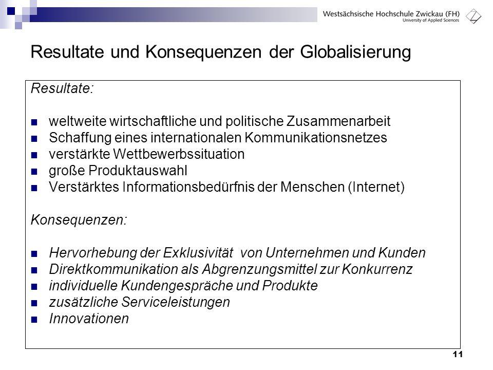 Resultate und Konsequenzen der Globalisierung